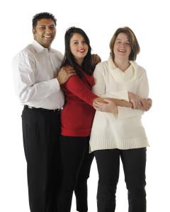 Happy Biracial Family of Three