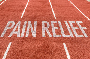 Pain Relief written on running track